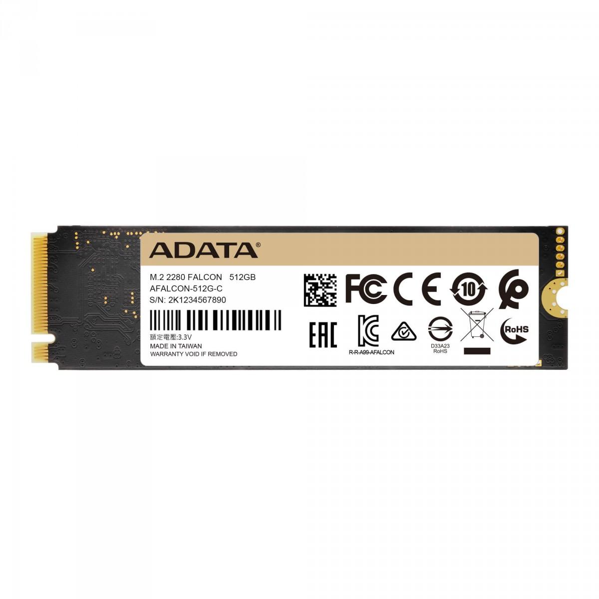 SSD Adata Falcon 512GB, M.2 2280 NVMe, Leitura 3100MBs e Gravação 1500MBs, AFALCON-512G-C