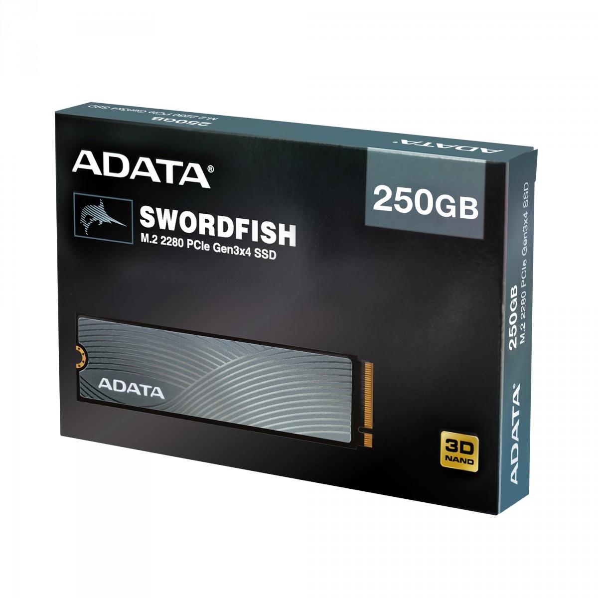 SSD Adata Swordfish 250GB, M.2 2280, Leitura 1800MBs e Gravação 1200MBs, ASWORDFISH-250G-C