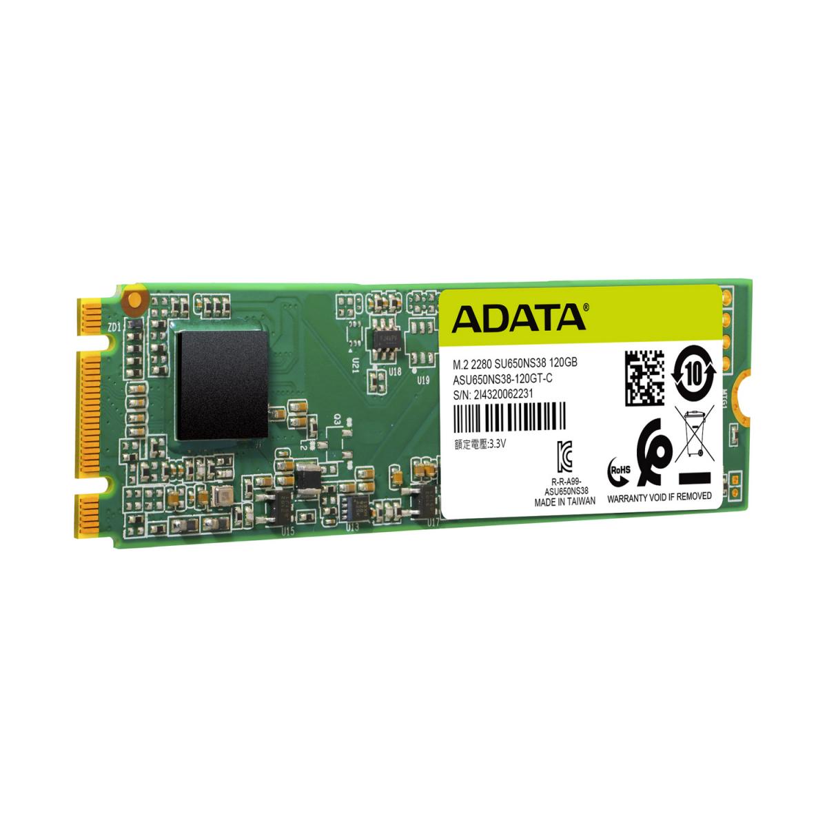 SSD Adata Ultimate SU650 120GB , M.2, Leitura 550MBs e Gravação 510MBs, ASU650NS38-120GT-C