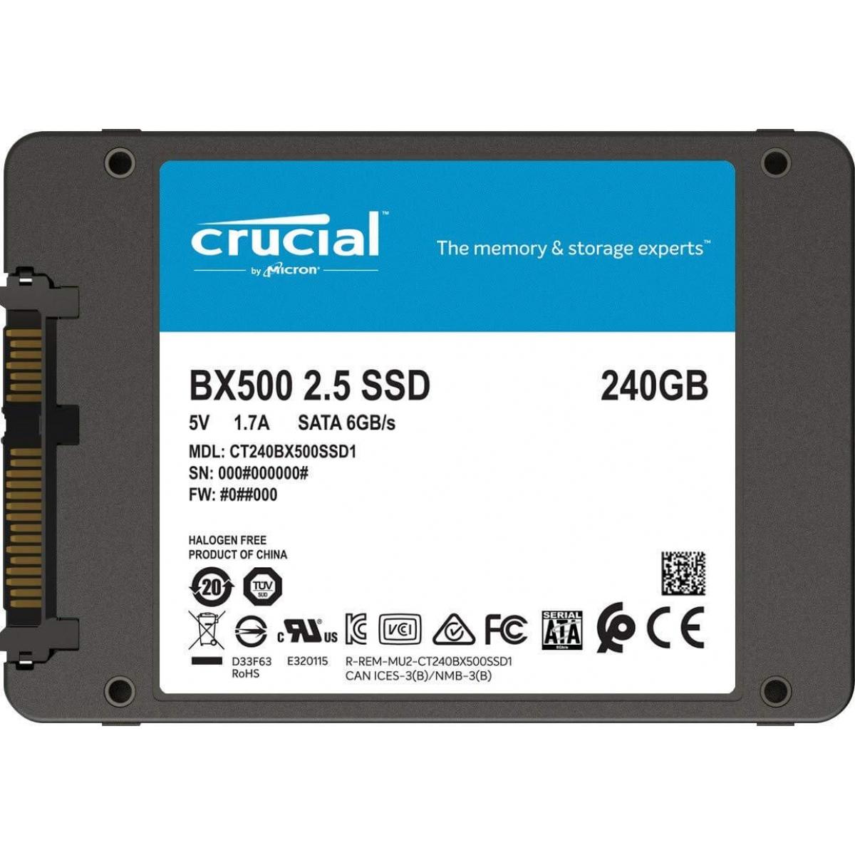 SSD Crucial BX500, 240GB, Sata III, Leitura 540MBs Gravação 500MBs, CT240BX500SSD1