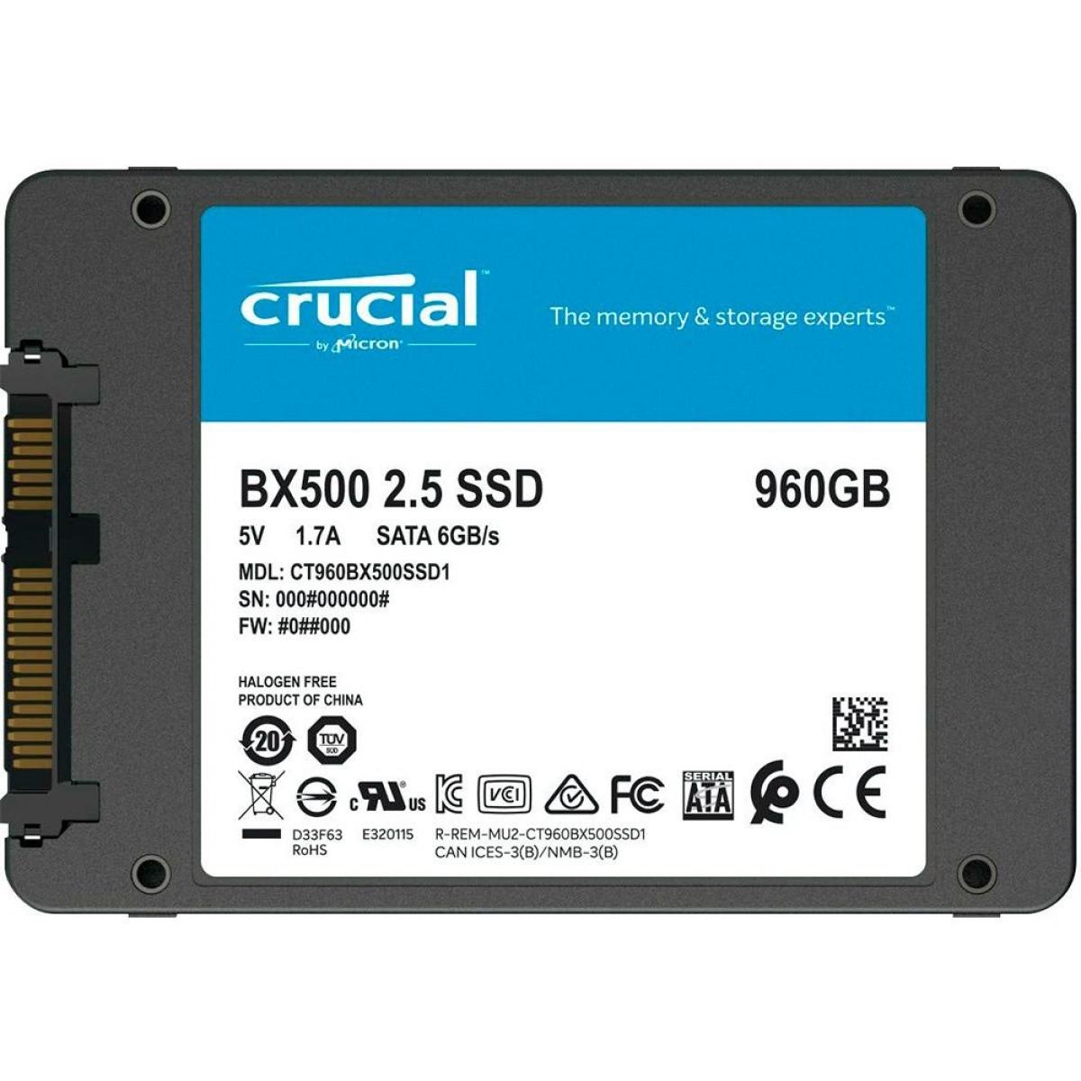 SSD Crucial BX500, 960GB, Sata III, Leitura 540MBs Gravação 500MBs, CT960BX500SSD1