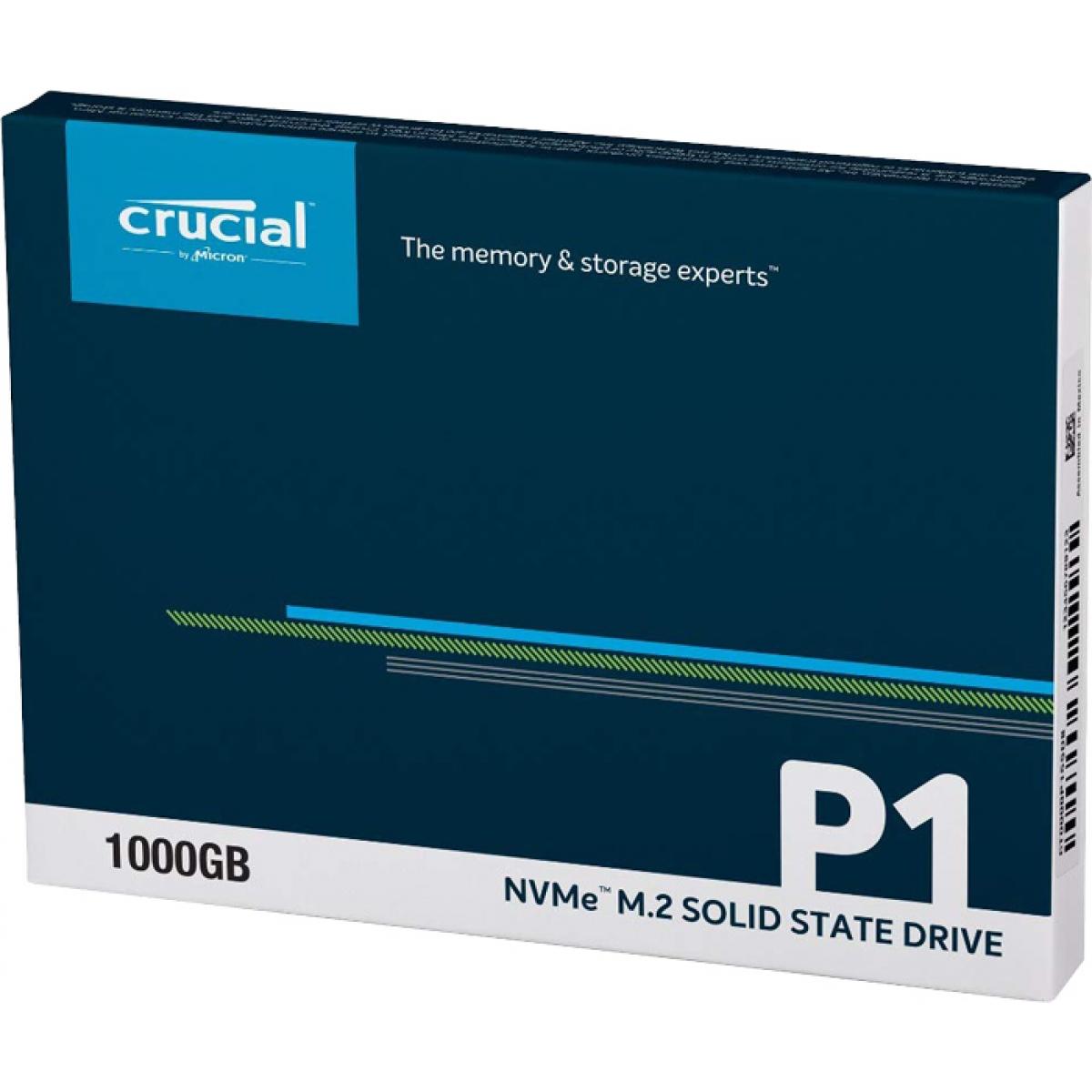SSD Crucial P1, 1TB, M.2 2280, NVMe, Leitura 2.000MBs Gravação 1750MBs, CT1000P1SSD8