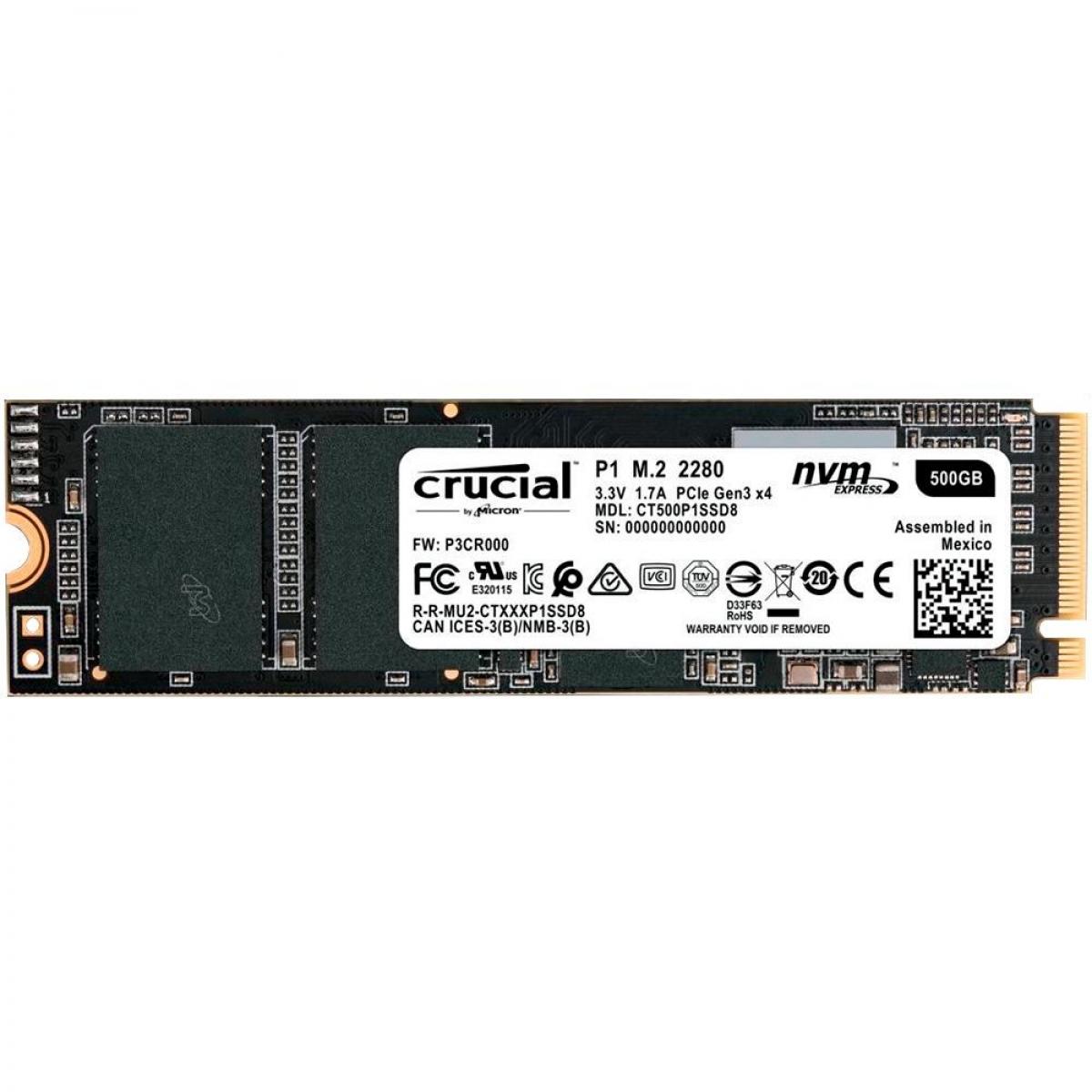 SSD Crucial P1, 500GB, M.2 2280, NVMe, Leitura 1900MBs Gravação 950MBs, CT500P1SSD8