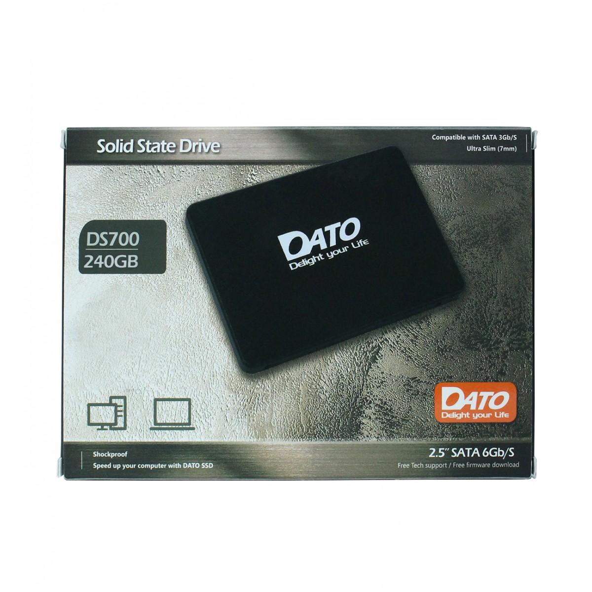 SSD Dato DS700, 240GB, Sata III, Leitura 550MBs e Gravação 435MBs