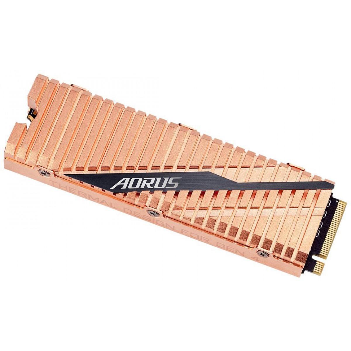 SSD Gigabyte Aorus, 500GB, M.2 2280, NVMe, Leitura 5000MBs e Gravação 2500MBs, GP-ASM2NE6500GTTD