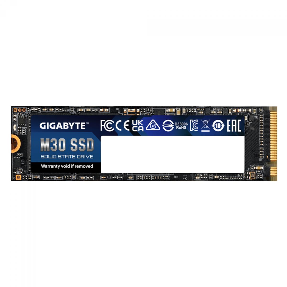 SSD Gigabyte M30, 512GB, M.2 2280, NVMe, Leitura 3500MBs e Gravação 2600MBs, GP-GM30512G-G