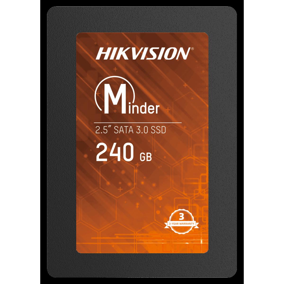 SSD Hikvision Minder, 240GB, Sata III, Leitura 530MBs e Gravação 400MBs, HS-SSD-Minder(S)/240G