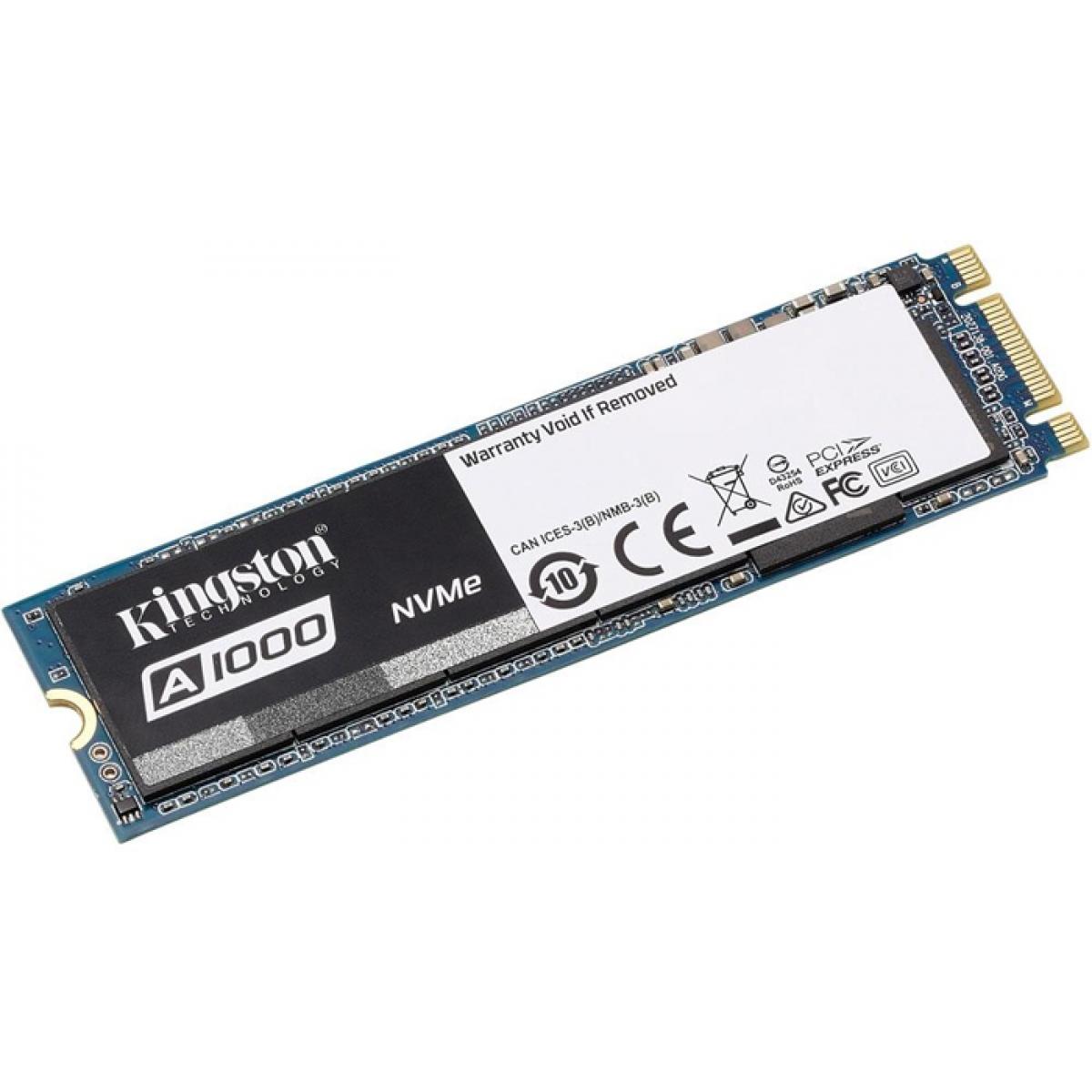 SSD Kingston A1000, 960GB, M.2 2280, NVMe, Leitura 1.500MBs e Gravação 1000MBs, SA1000M8-960G