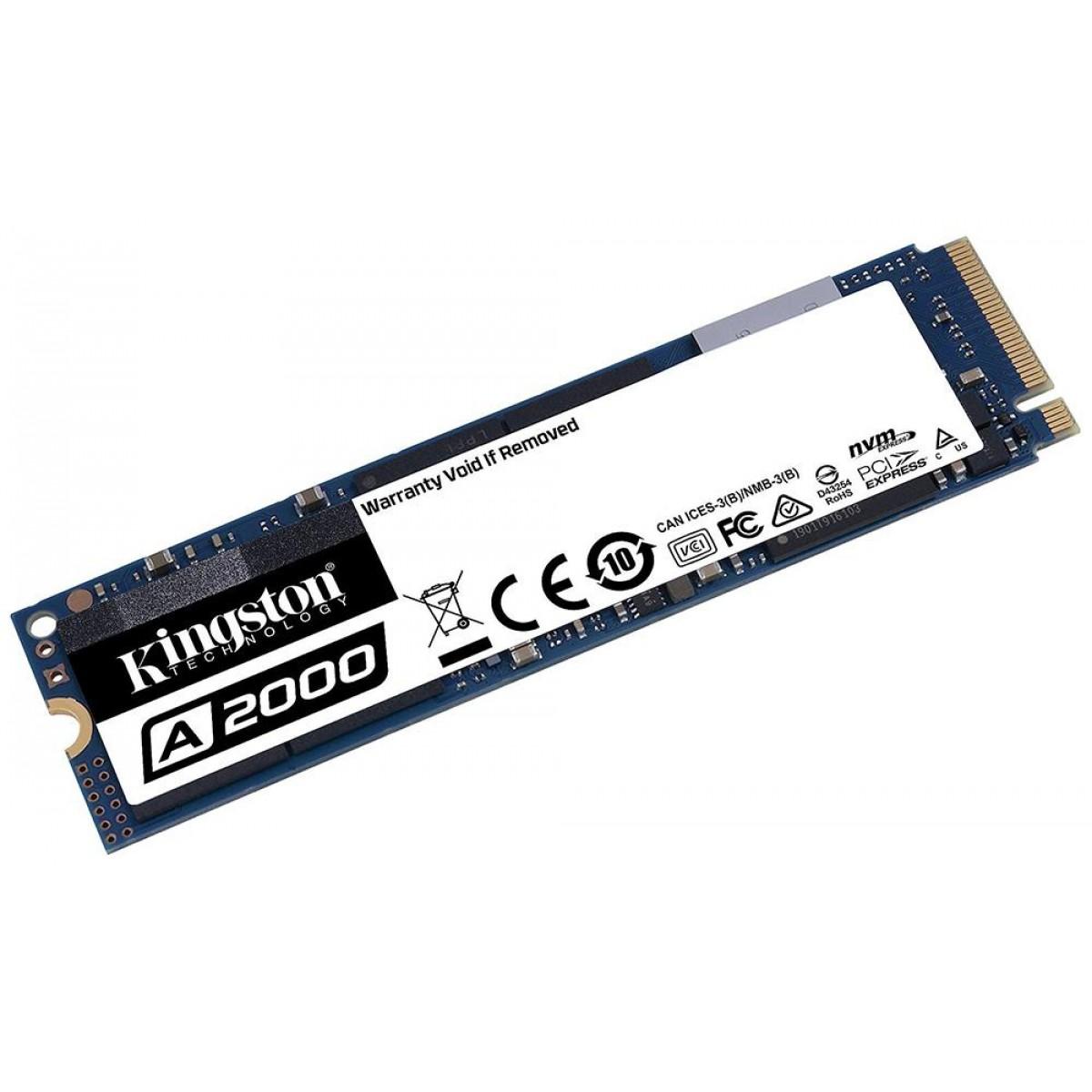 SSD Kingston A2000, 1TB, M.2 2280, NVMe, Leitura 2200MBs e Gravação 2000MBs, SA2000M8/1000G