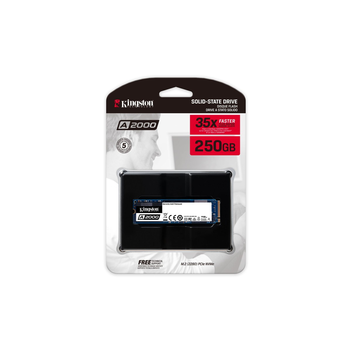 SSD Kingston A2000, 250GB, M.2 NVMe, Leitura 2200MBs e Gravação 2000MBs, SA2000M8/250G
