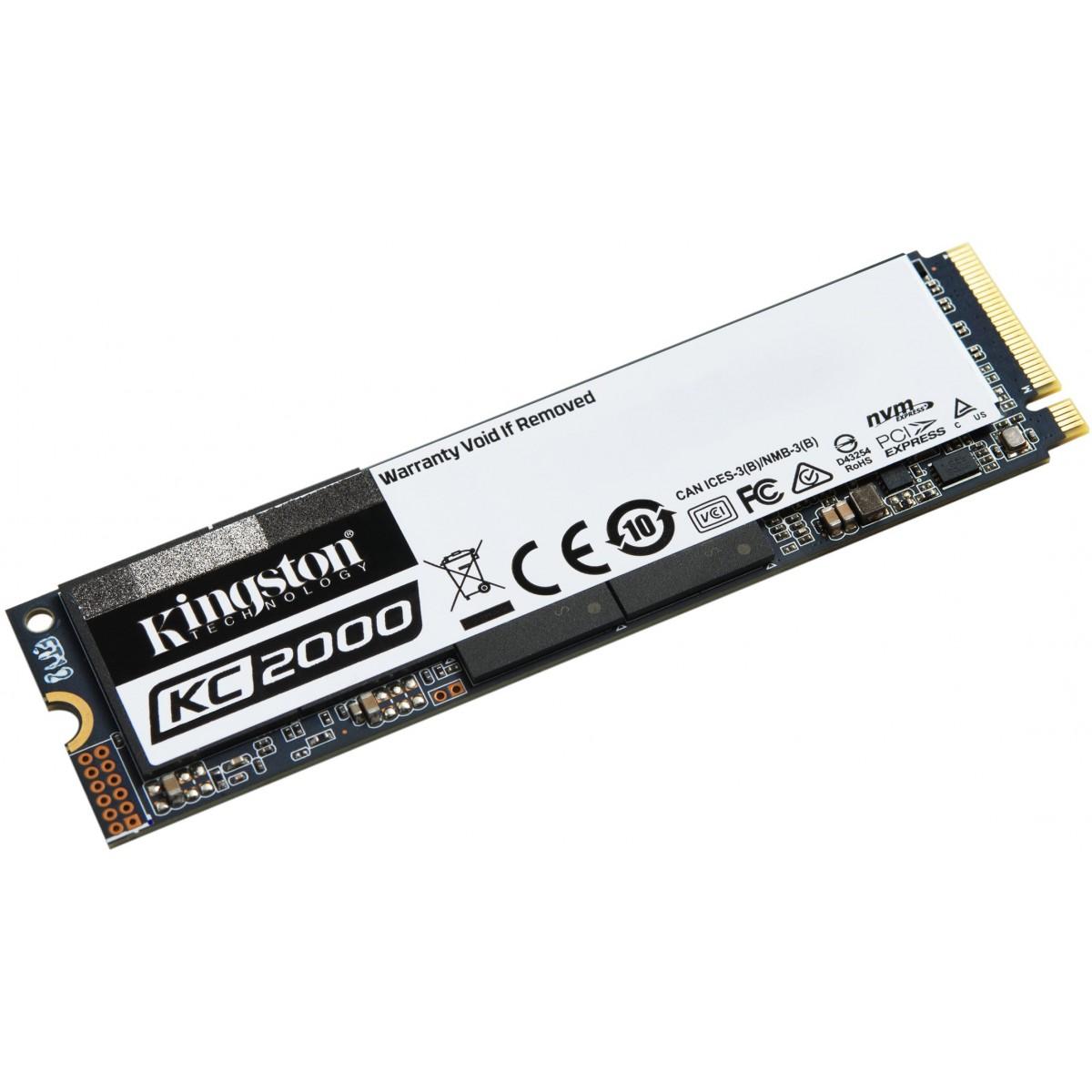 SSD Kingston KC2000, M.2 2280, 1TB, Leitura 3200MBs e Gravação 2200MBs, SKC2000M8/1000G