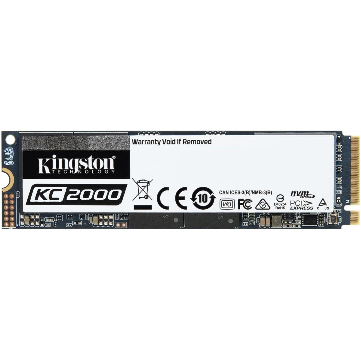 SSD Kingston KC2000, M.2, 500GB, Leitura 3000MBs e Gravação 2000MBs, SKC2000M8/500G