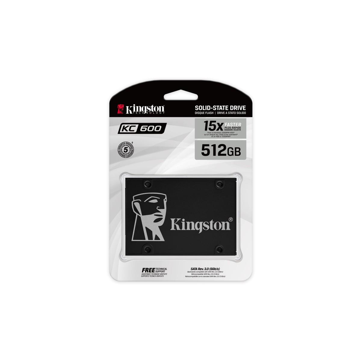 SSD Kingston KC600, 512GB, Sata, Leitura 550MB/s e Gravação 520MB/s, SKC600/512G