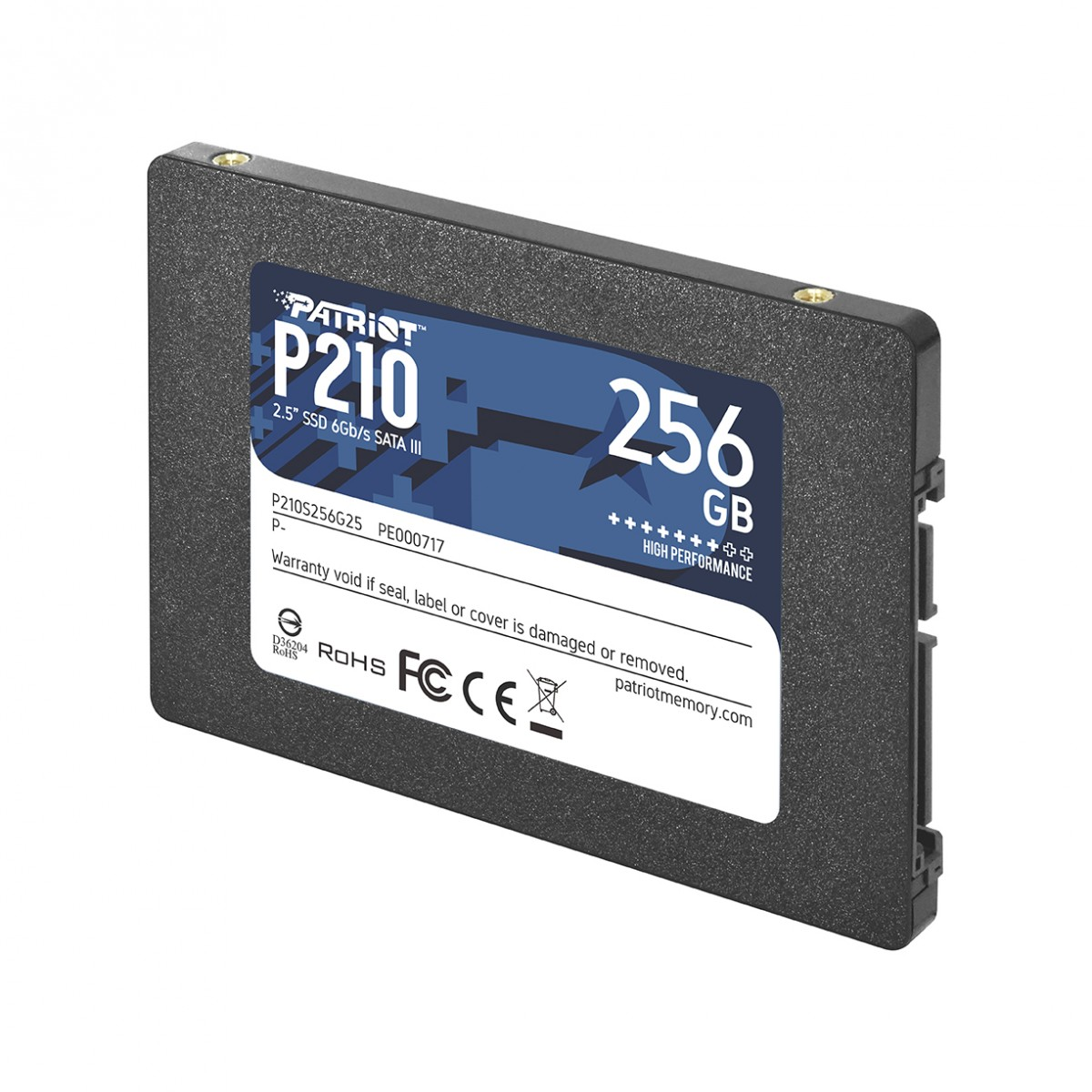 SSD Patriot P210, 256GB, Sata III, Leitura 500MB/s e Gravação 400MB/s, P210S256G25
