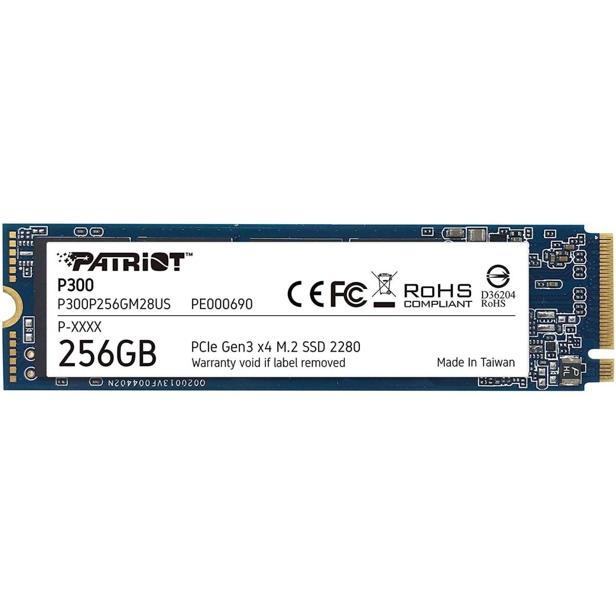 SSD Patriot P300, 256GB, M.2 NVME, Leitura 1700MBs e Gravação 1100MBs, P300P256GM28