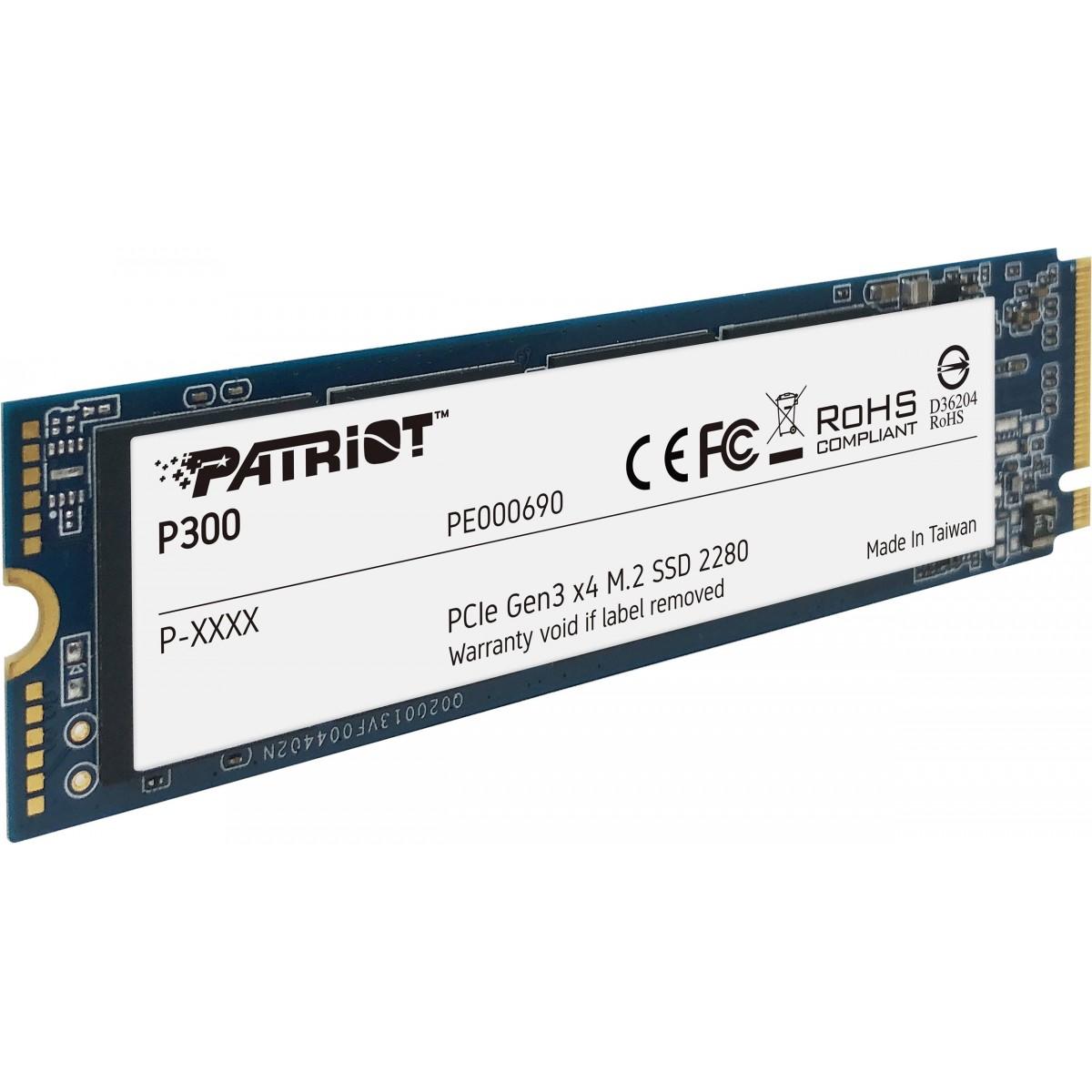 SSD Patriot P300, 512GB, NVME, Leitura 1700MBs e Gravação 1100MBs, P300P512GM28