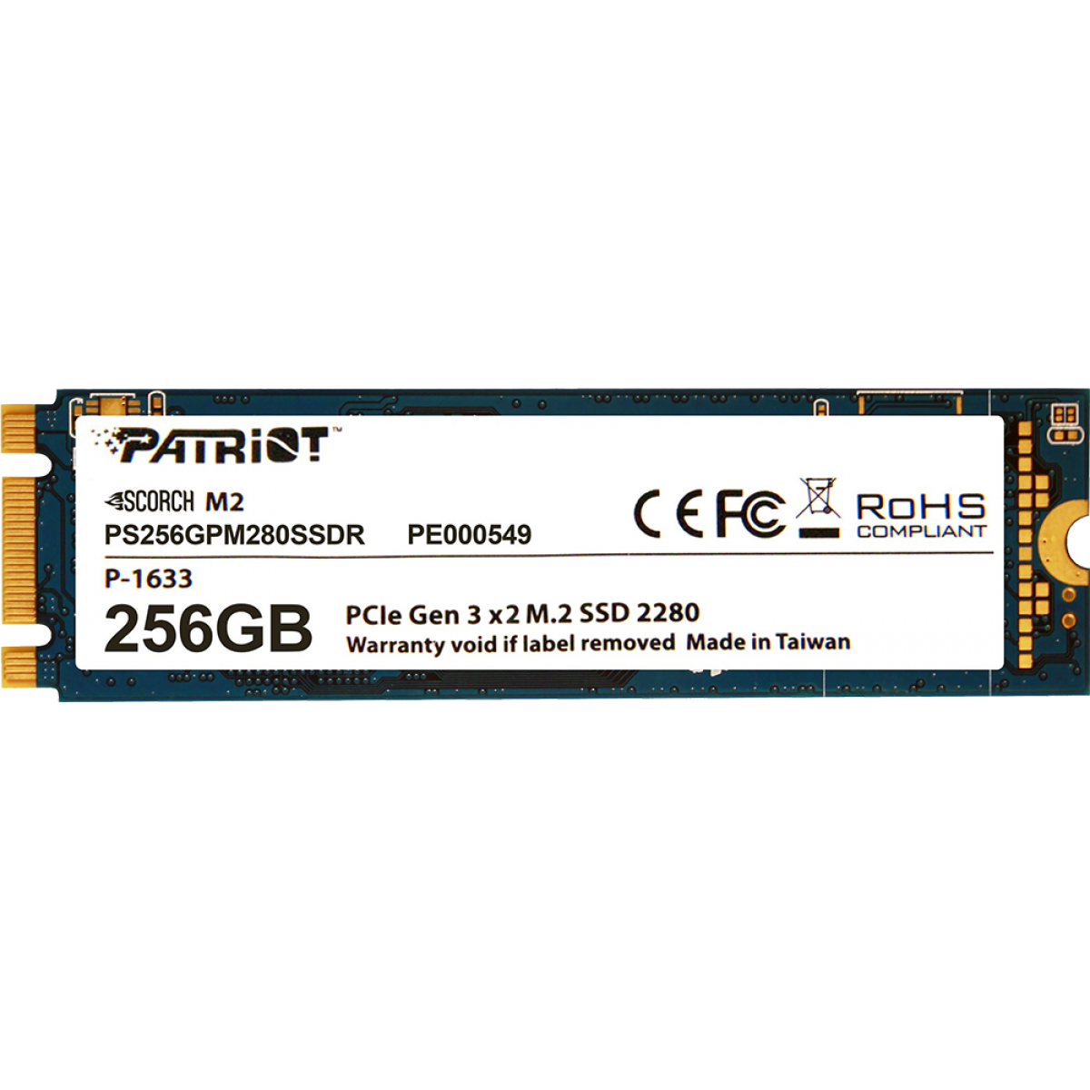 SSD Patriot Scorch M.2 80mm, 256GB, Leitura 1700MBs e Gravação 780MBs, PS256GPM280SSDR