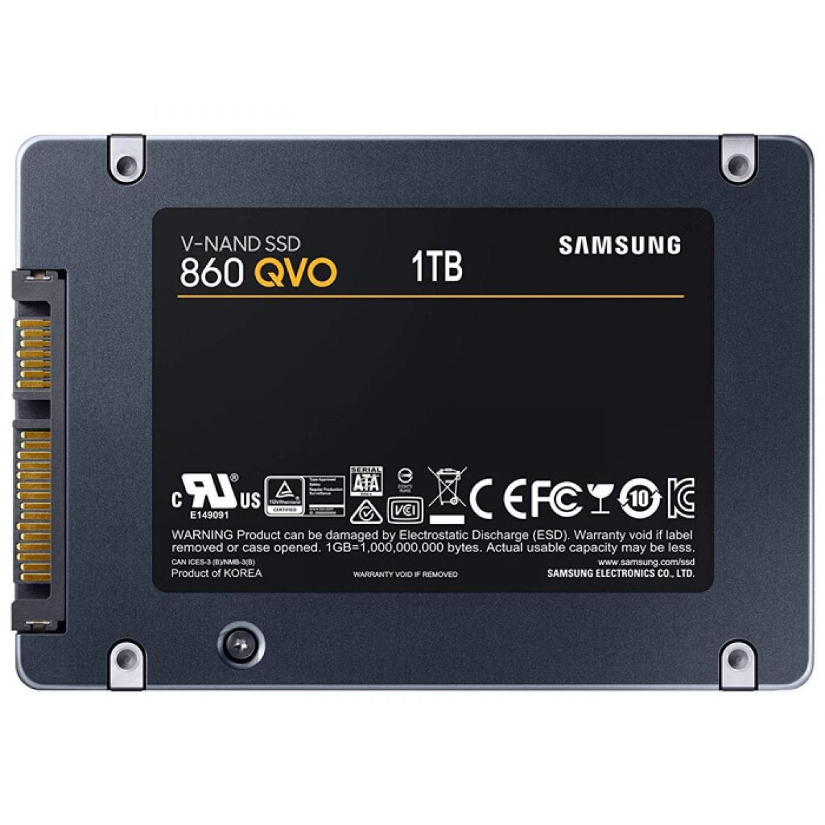 SSD Samsung 860 QVO, 1TB, Sata III, Leitura 550MBs e Gravação 520MBs, MZ-76Q1T0B-AM
