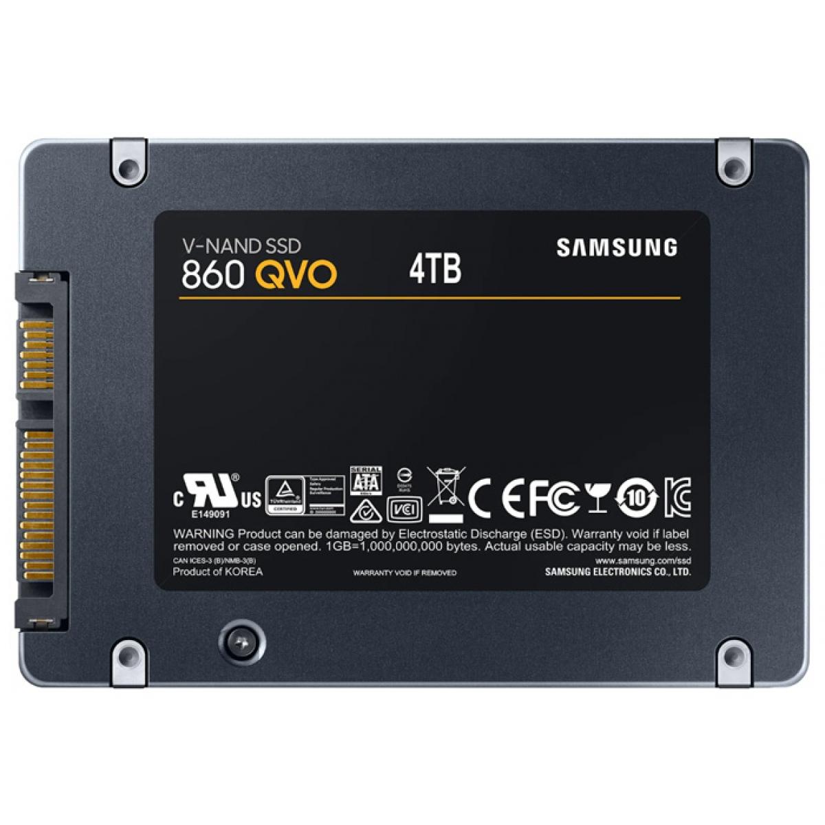SSD Samsung 860 QVO, 4TB, Sata III, Leitura 550MBs e Gravação 520MBs, MZ-76Q4T0B/AM