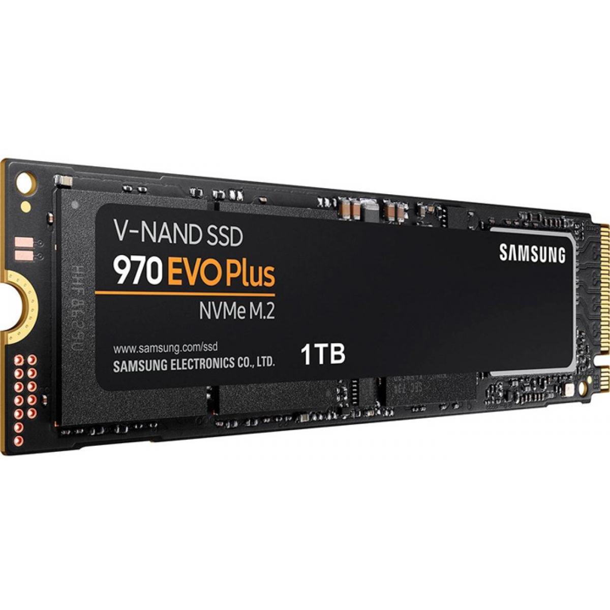SSD Samsung 970 EVO Plus, 1TB, M.2 2280, NVMe, Leitura 3500MBs e Gravação 3300MBs, MZ-V7S1T0B/AM
