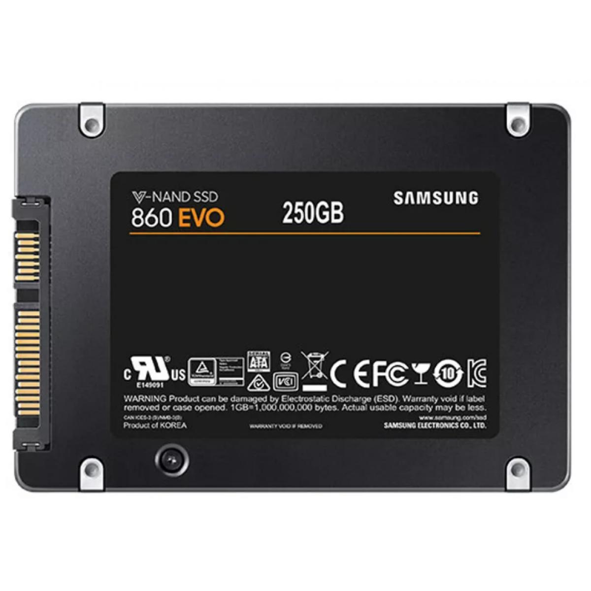 SSD Samsung EVO 860, 250GB, Sata III, Leitura 550MBs Gravação 520MBs, MZ-76E250E