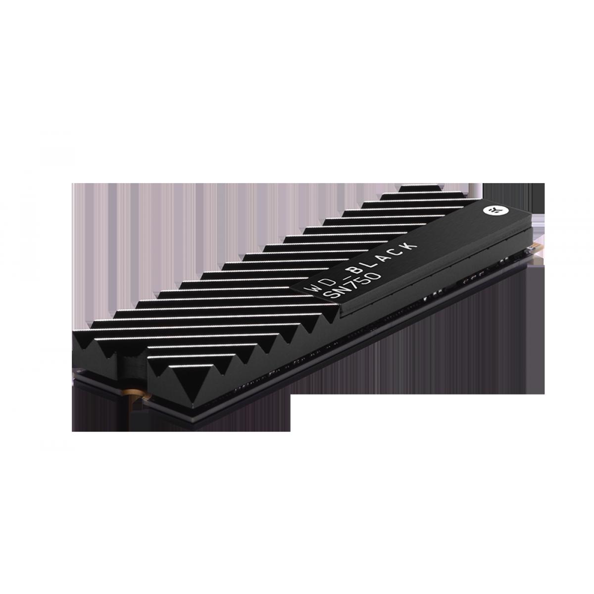 SSD WD Black SN750 2TB, M.2 2280, Nvme, Leitura 3400MBs, Gravação 2900MBs, C/Heatsink, WDS200T3XHC