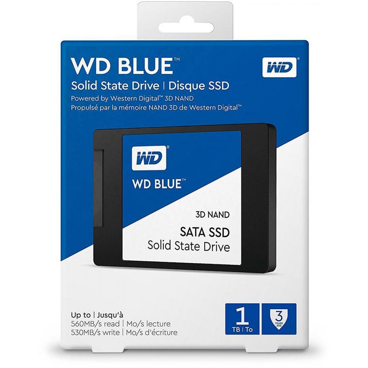 SSD WD Blue 1TB, Sata III, Leitura 560MBs e Gravação 530MBs, WDS100T2B0A
