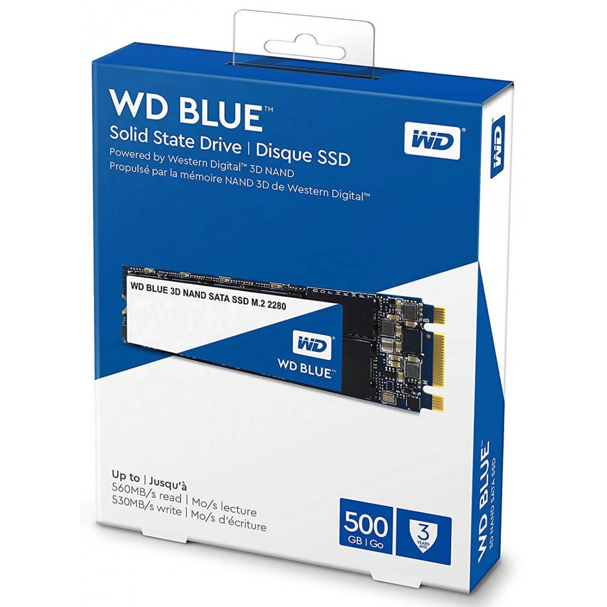 SSD WD Blue, 250GB, M.2 2280, Sata, Leitura: 550MBs e Gravação: 525MBs, WDS250G2B0B