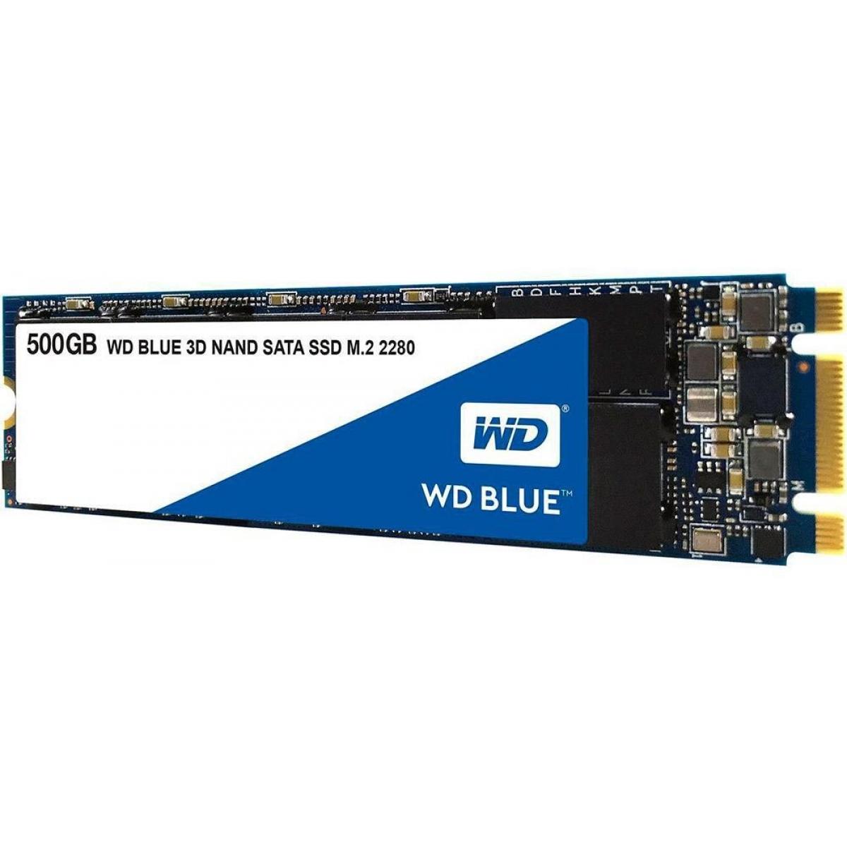 SSD WD Blue 500GB, M.2 2280, Leitura 560MBs e Gravação 530MBs, WDS500G2B0B