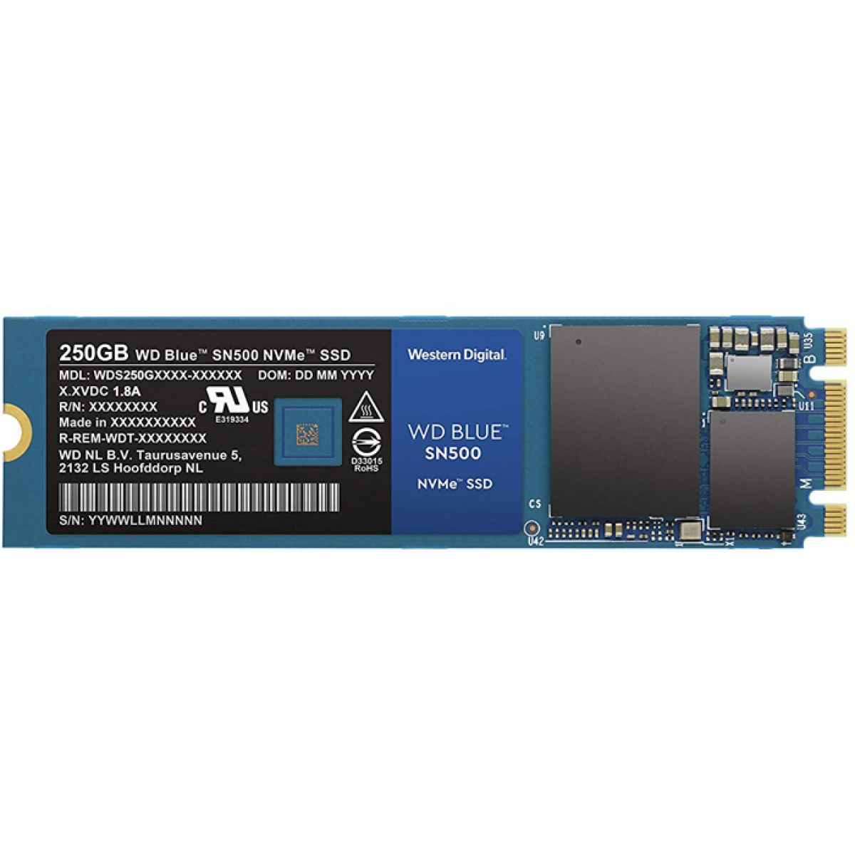SSD WD Blue SN500 250GB, M.2 2280, Leitura 1.700MBs e Gravação 1.300MBs, WDS250G1B0C