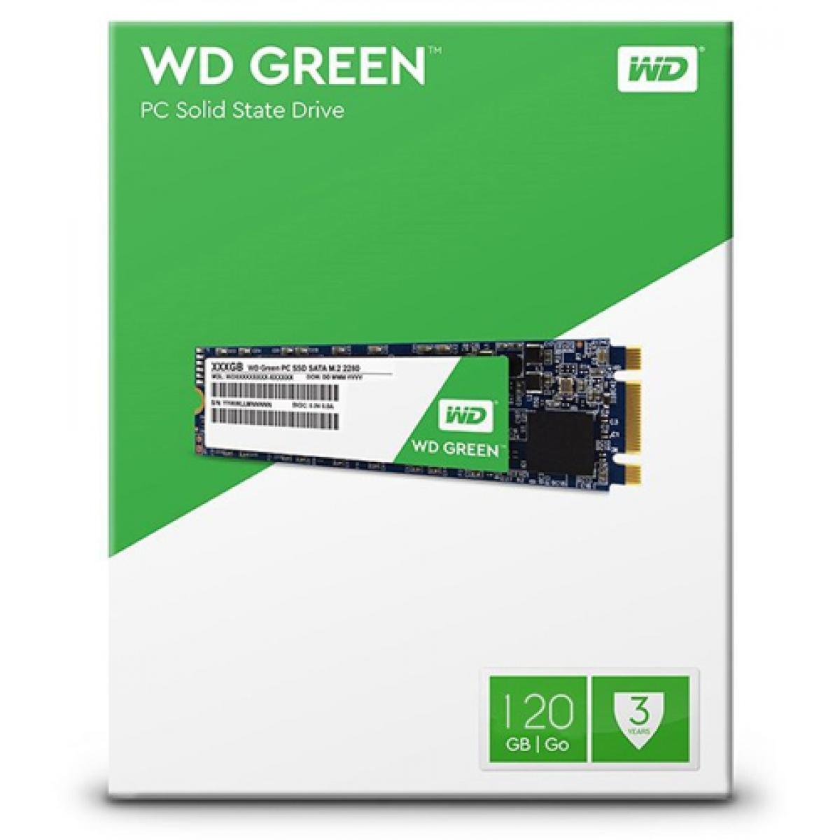 SSD WD Green, 120GB, M.2 2280, Leitura 540MBs e Gravação 430MBs, WDS120G2G0B