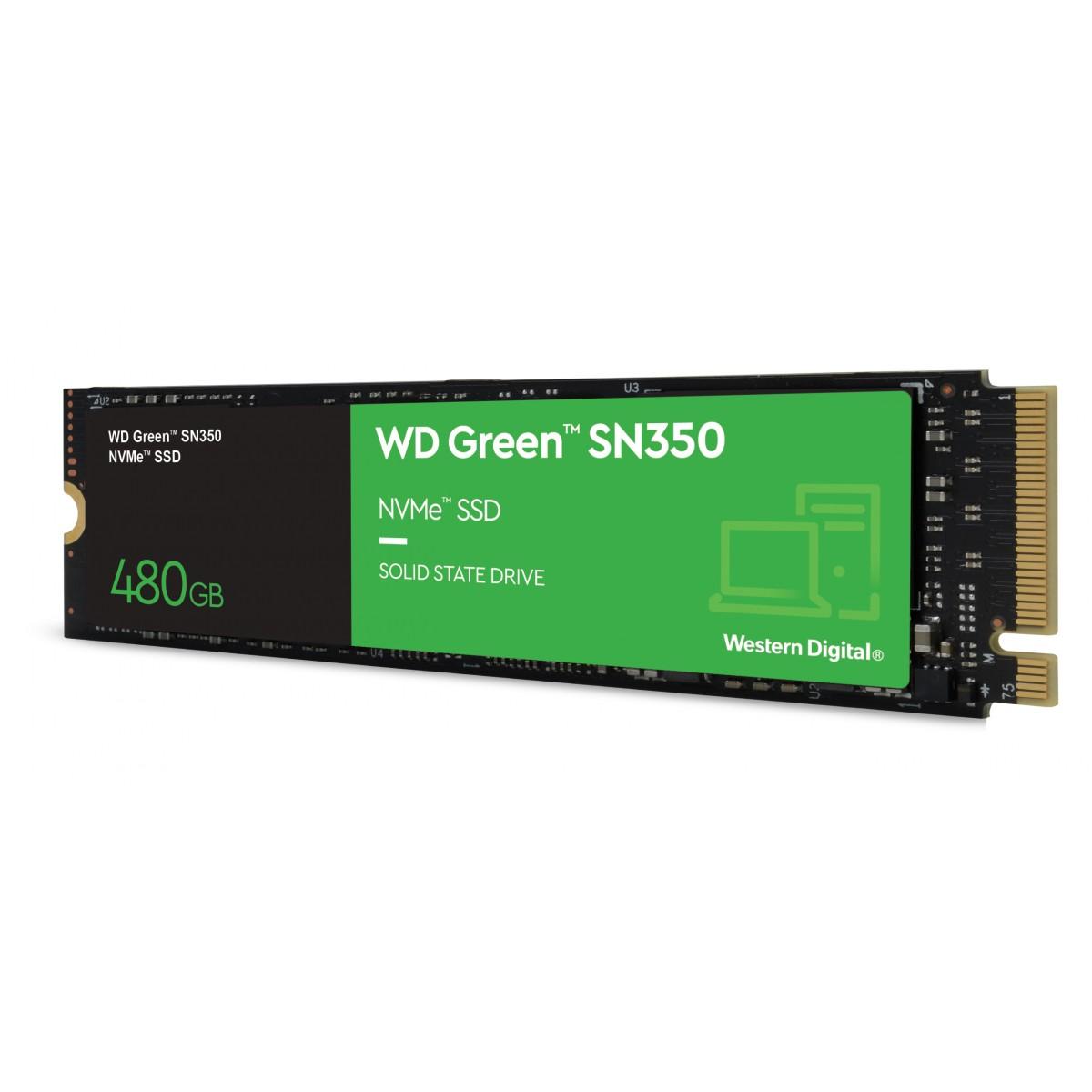 SSD WD Green SN350, 480GB, M.2 NVMe, Leitura 2400MB/s e Gravação 1650MB/s, WDS480G2G0C
