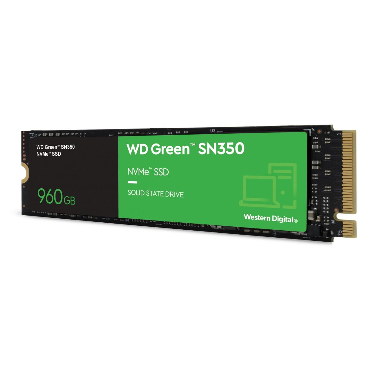 SSD WD Green SN350, 960GB, M.2 NVMe, Leitura 2400MB/s e Gravação 1900MB/s, WDS960G2G0C