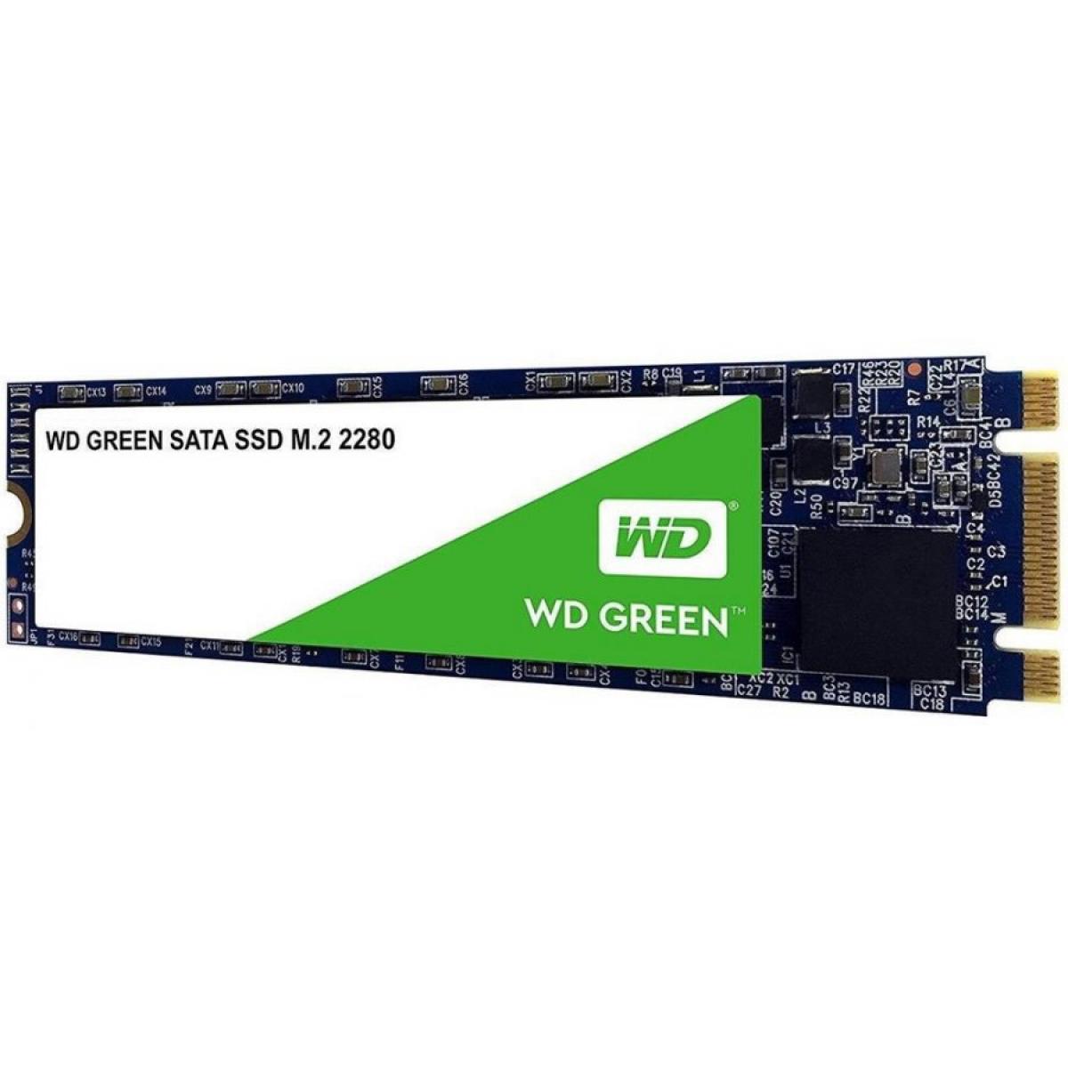 SSD WD Green 480GB, M.2 2280, Sata, Leitura 545MBs Gravação 465Mbs, WDS480G2G0B