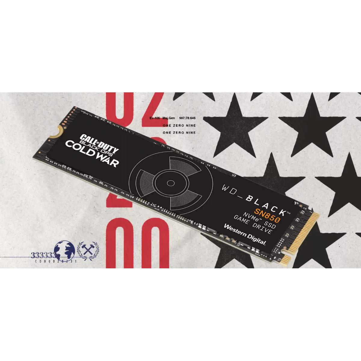 SSD WD SN850 Call of Duty Edition, 1TB, M.2 NVMe, Leitura 7.000 MB/s e Gravação 5.300 MB/s, WDBB2F0010BNC-WRSN