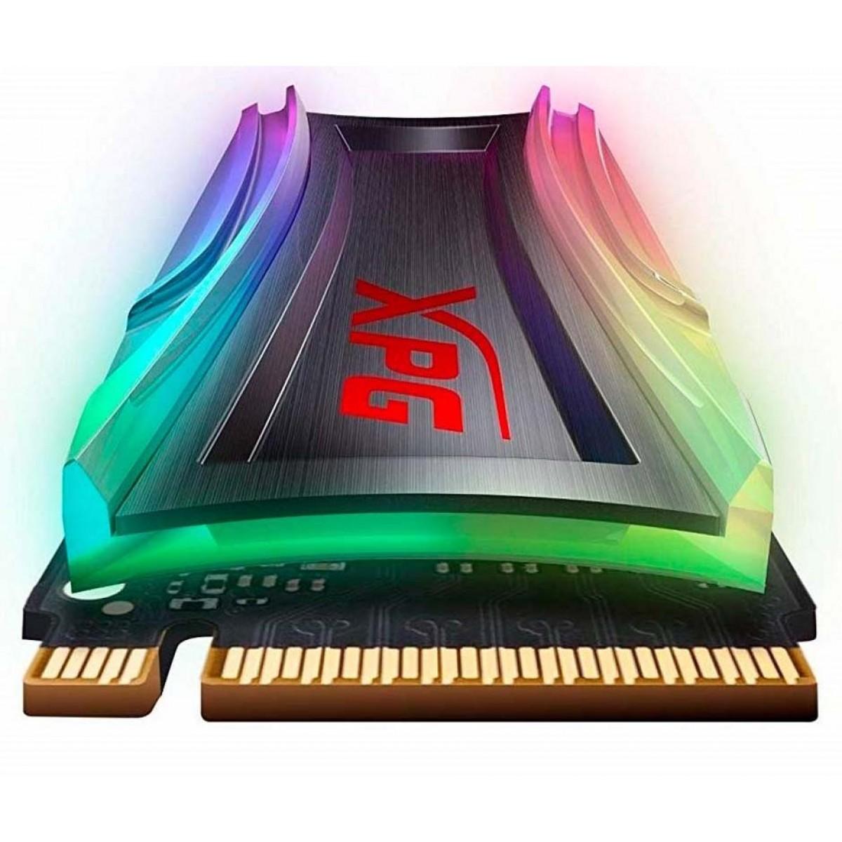 SSD XPG Spectrix S40G RGB, 1TB, M.2 2280, NVMe, Leitura: 3500MBs e Gravação: 1900MBs, AS40G-1TT-C