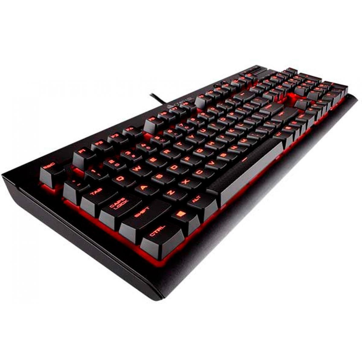 Teclado Mecânico Gamer Corsair K68 Switch Cherry MX Red CH-9102020-BR LED Vermelho ABNT2