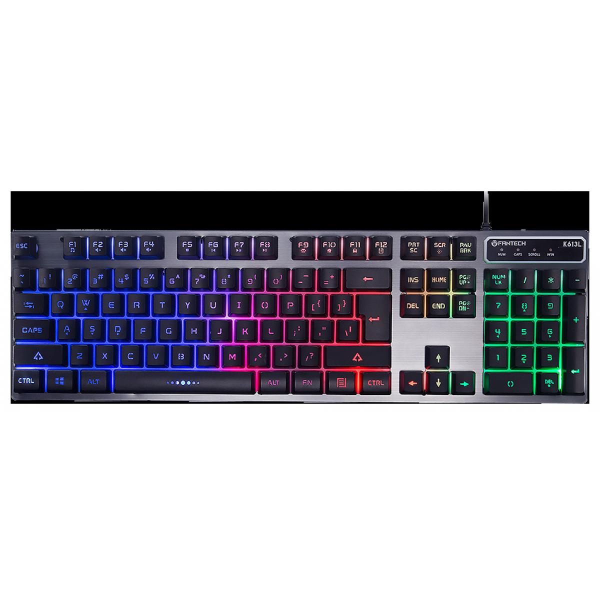 Teclado Gamer Fantech Fighter II, RGB, Black, K613L