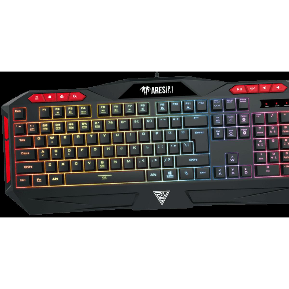 Teclado Gamer Gamdias Ares P1 RGB Preto