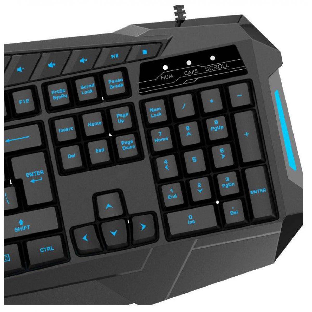 Teclado Gamer Gamemax Multimídia KG196 USB Black Com Led 3 Cores