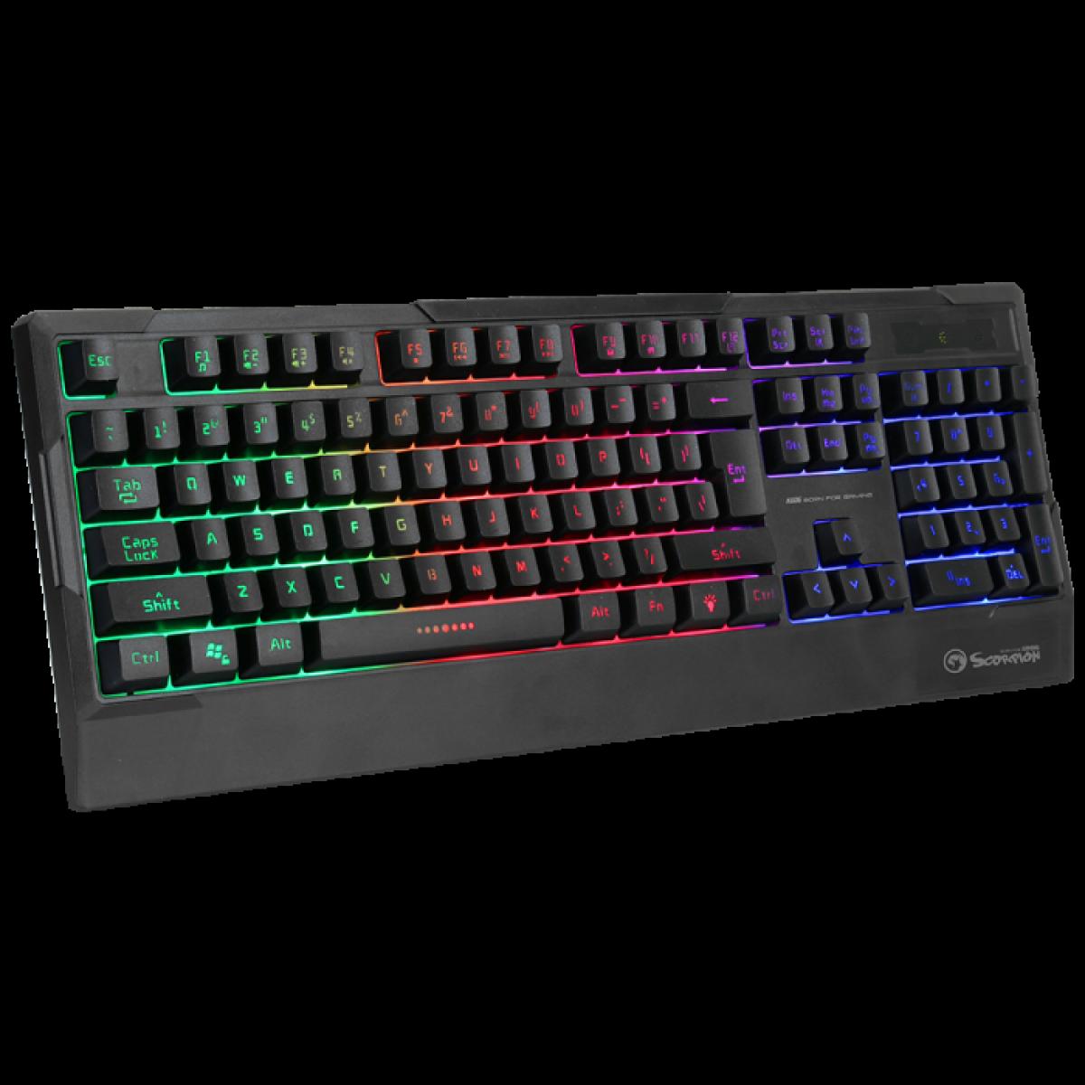 Teclado Gamer Marvo K606, Membrana, Rainbow