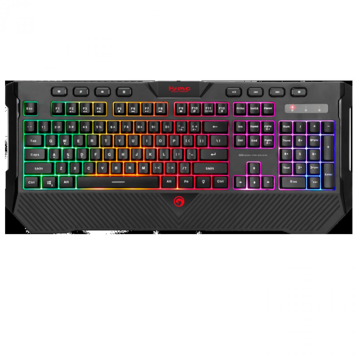 Teclado Gamer Marvo K656, Membrana, Rainbow