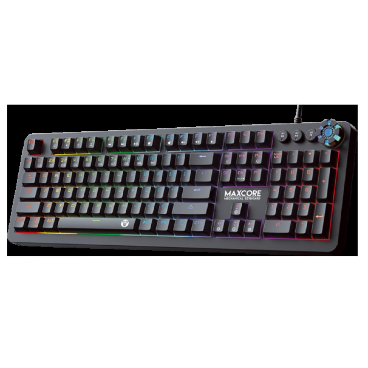 Teclado Gamer Mecânico Fantech Max Core, RGB, Switch Blue, Black, MK852