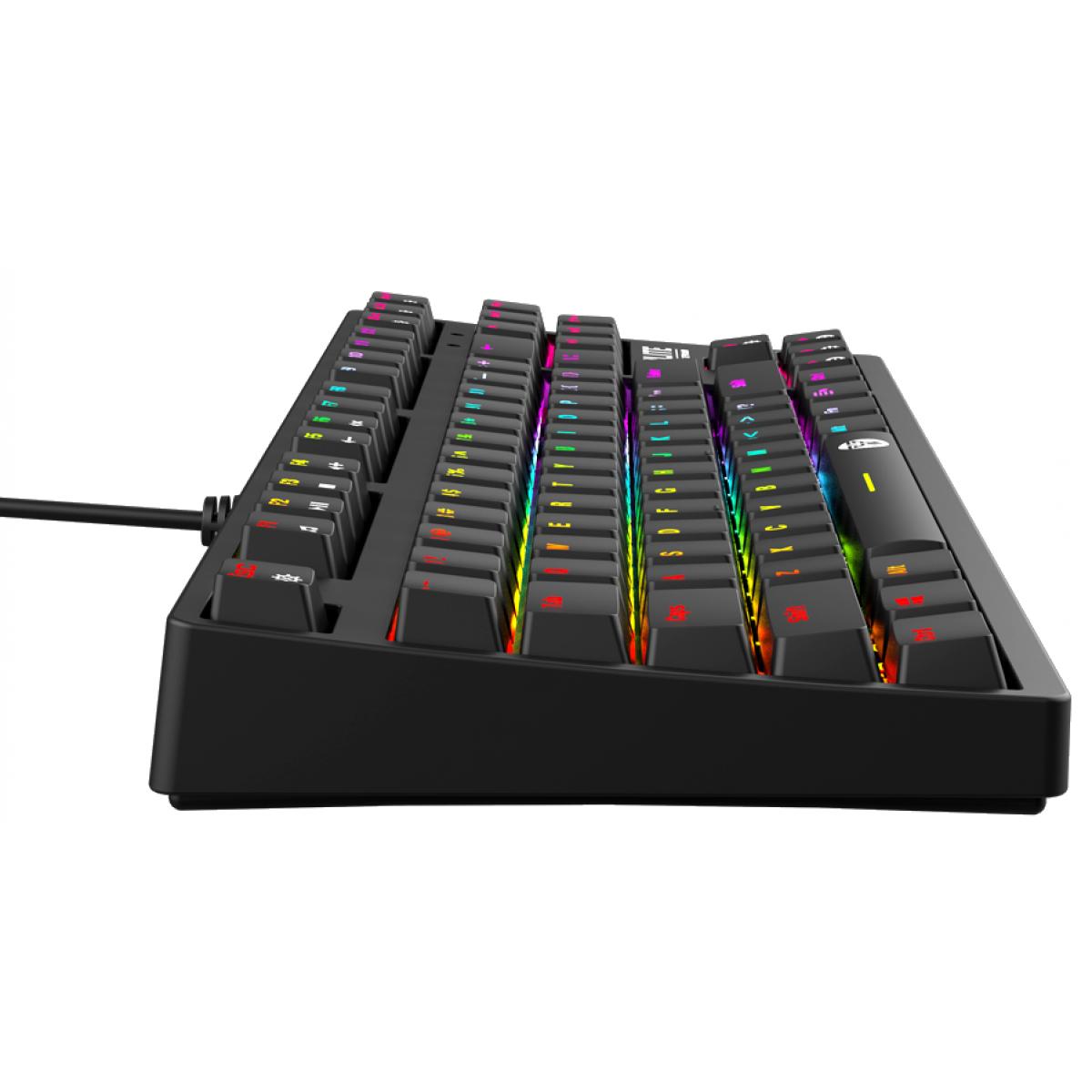 Teclado Gamer Mecânico Fantech Optilite, RGB, Switch Blue, Black, MK872