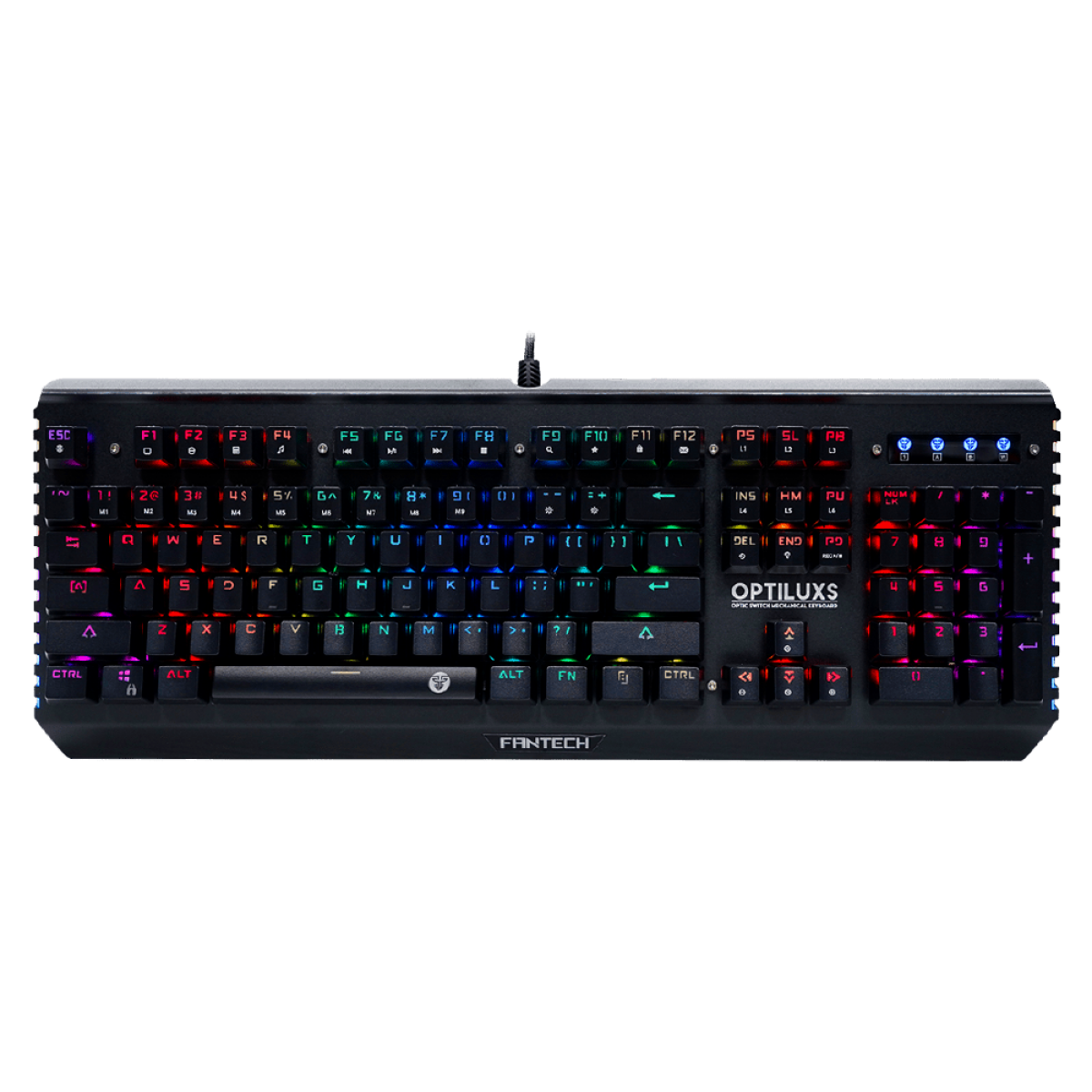 Teclado Gamer Mecânico Fantech Optiluxs, RGB, Switch Blue, Black, MK884