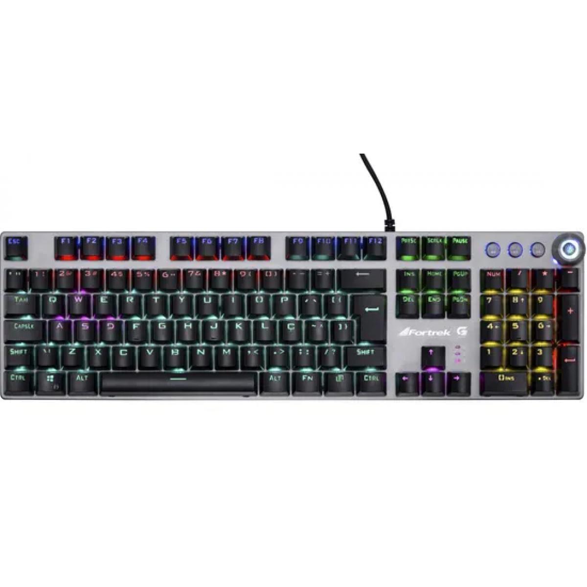Teclado Gamer Mecânico Fortrek K7, Rainbow, Switch Blue, ABNT2, Preto, 67702