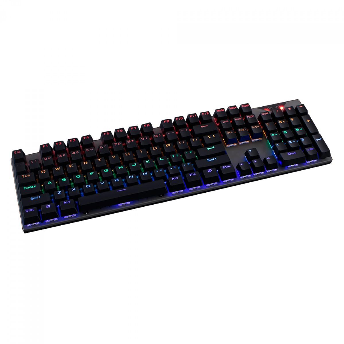 Teclado Gamer Mecânico Galax Stealth STL-03, Rainbow, Switch Blue, Black, KGS0314T1MR1BBK0