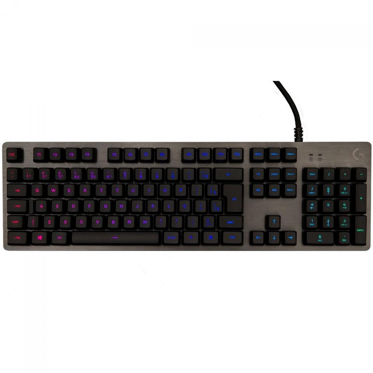 Teclado Gamer Mecânico Logitech G512, Switch Brown, RGB, ABNT2, Carbon, 920-009400