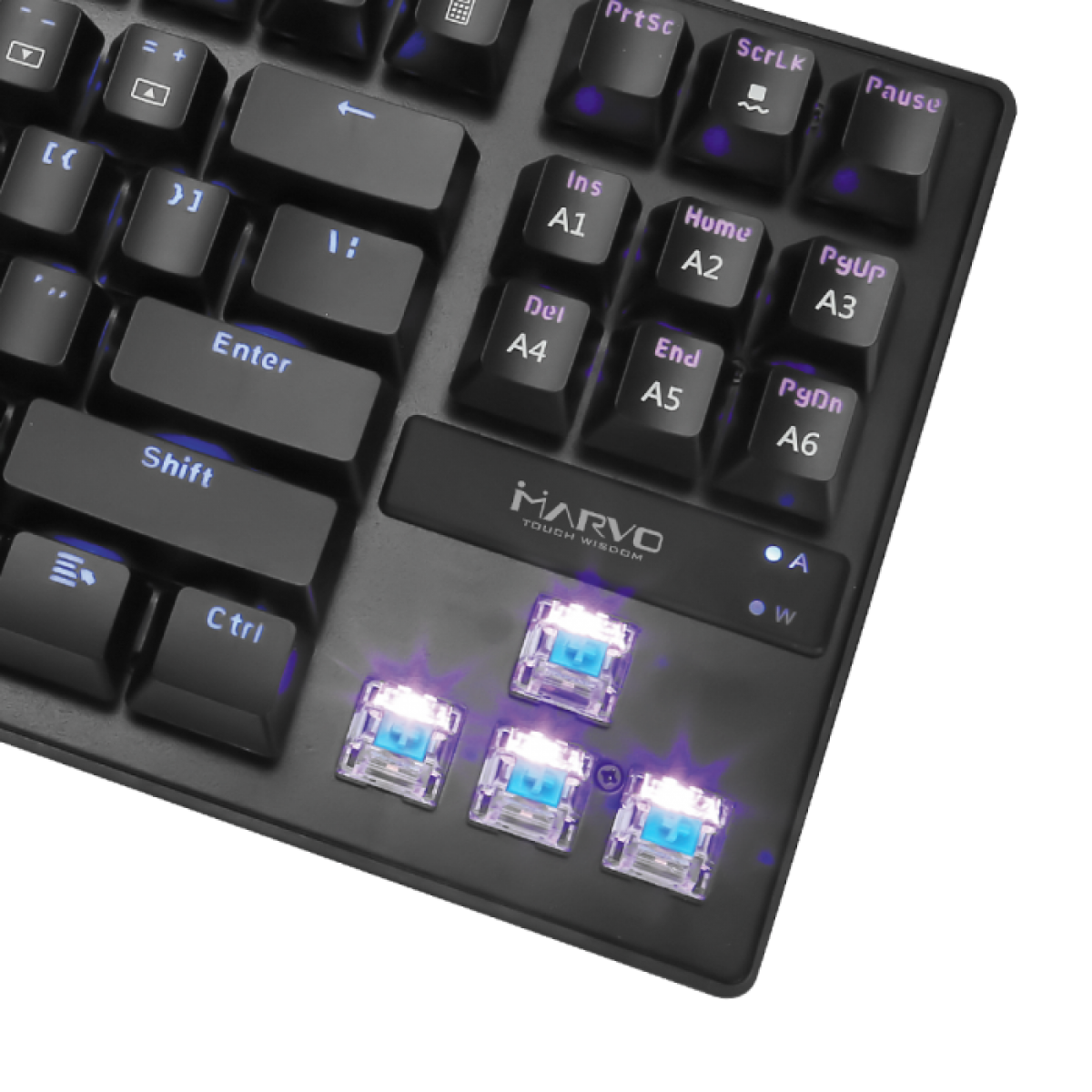 Teclado Gamer Mecânico Marvo KG901, Switch Blue, Rainbow