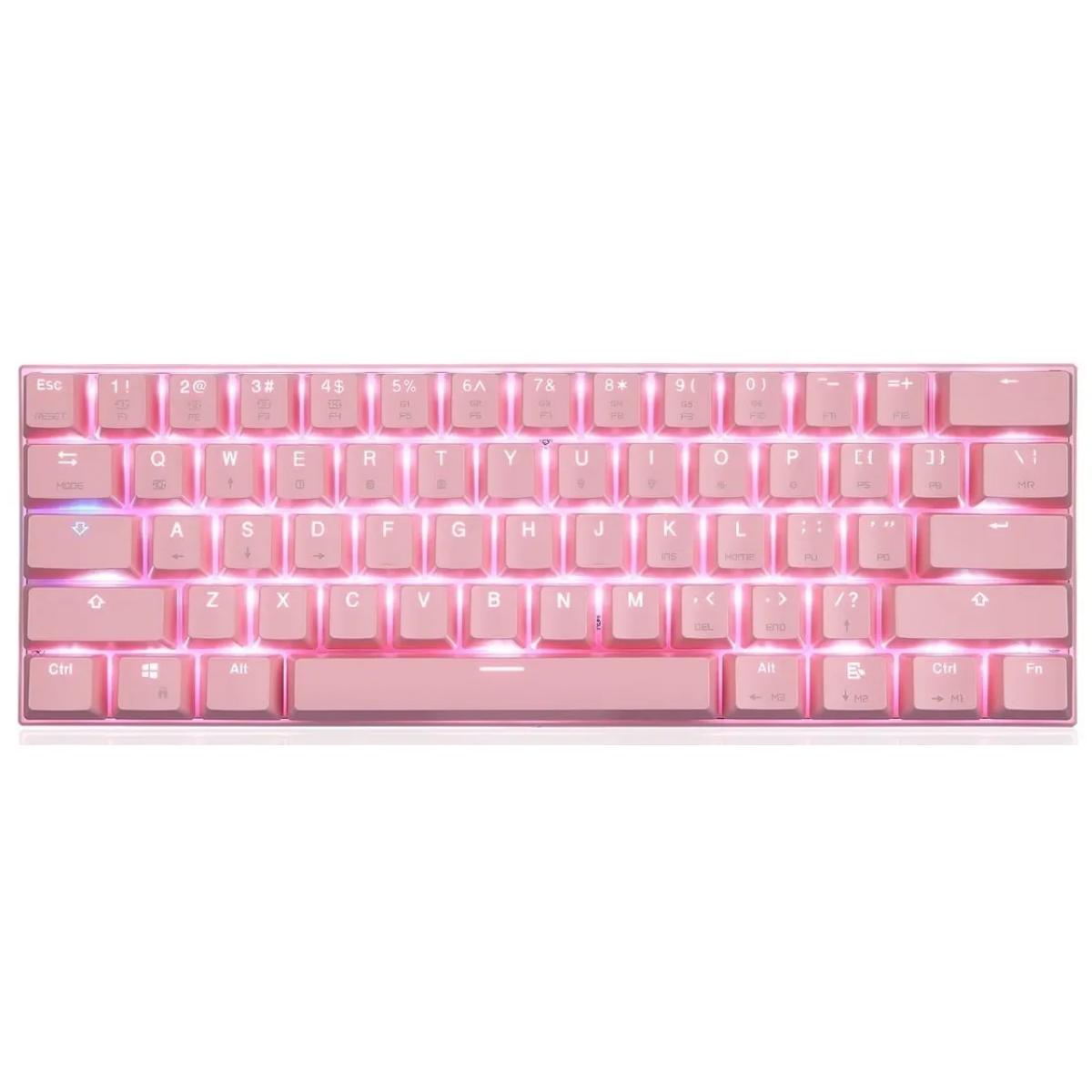 Teclado Gamer Mecânico MotoSpeed CK62 Pink, Switch Blue, RGB, FMSTC0097RSA